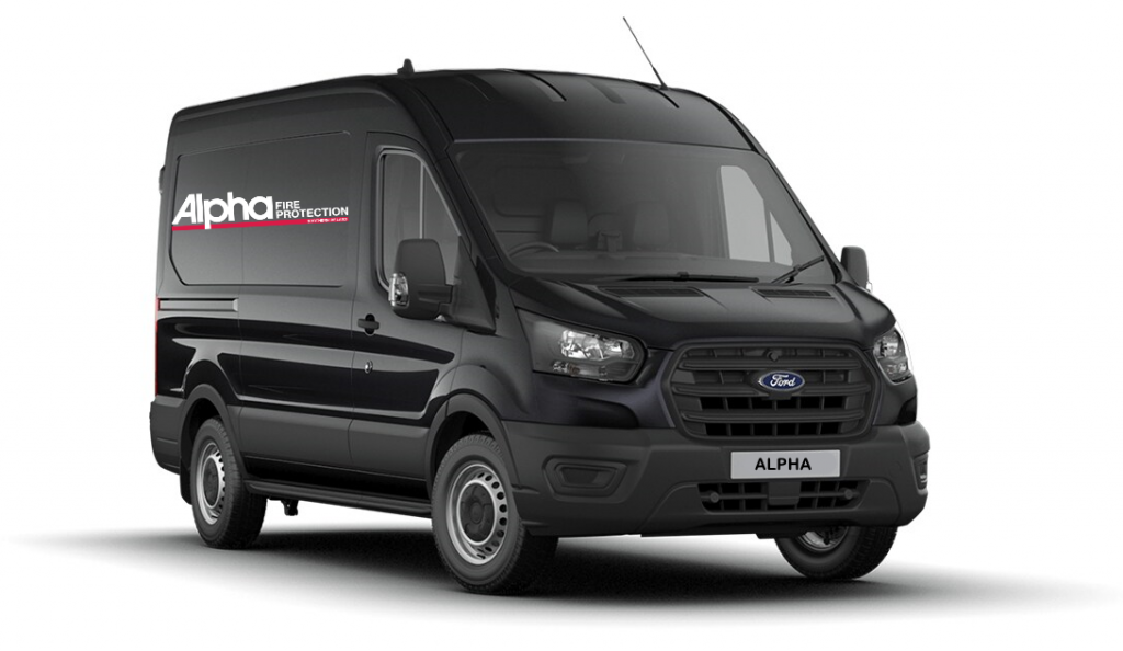 black van with Alpha fire protection Logo