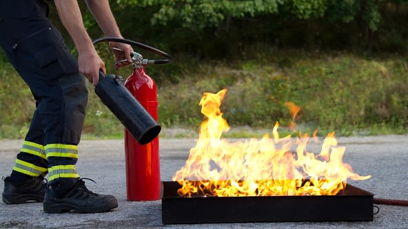 Training on how to use fire extinguishers